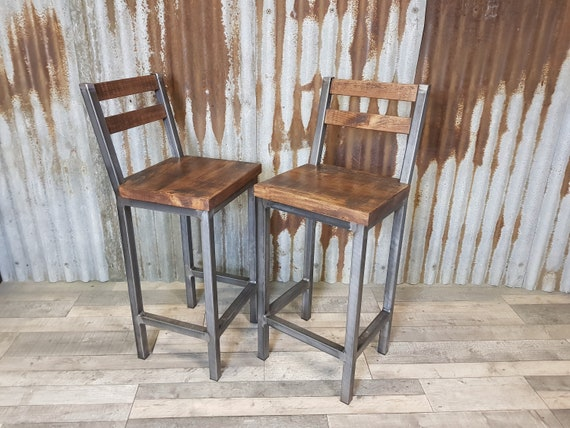 Industrial style breakfast bar stools, bar stools for poser tables, stools with backs