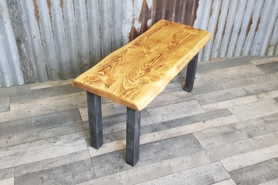 NEW!!! Live edge Industrial style bench, bench with chunky steel legs, wooden bench seating
