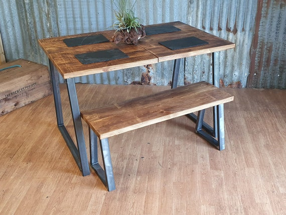 Industrial dining table with trapezium legs and bench, dining table and bench sets, solid wood dining tables, bespoke furniture