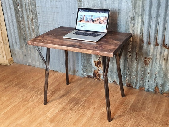 Rune Industrial rustic desk, compact desk for home office, budget student desk, hairpin leg desk