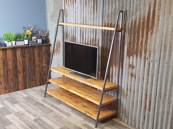 NEW! Industrial free standing ladder TV media unit, lean to bespoke shelving units, freestanding wood book shelves