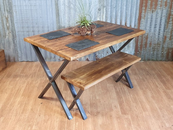Industrial dining table with X style legs and bench, dining table and bench package, reclaimed industrial bespoke furniture