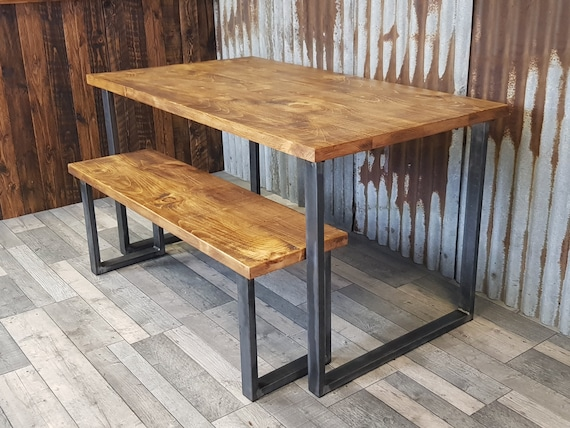 Industrial dining table with square loop legs and bench, dining table and bench package, reclaimed wood dining table, bespoke dining tables