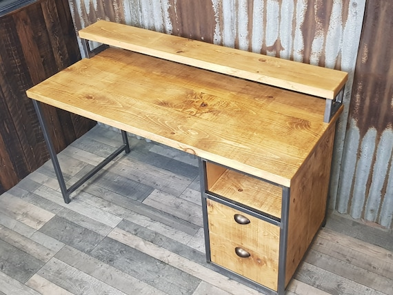 NEW!! Industrial rustic desk with monitor shelf, compact desk for home office, desk with shelf storage