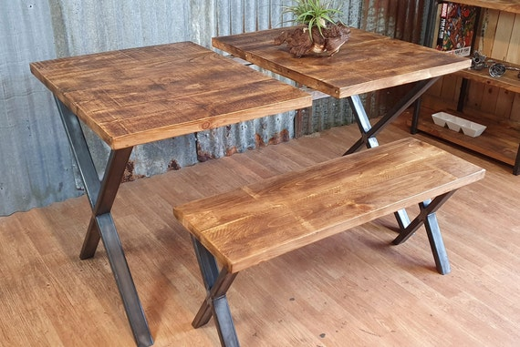 extending dining table with X style legs, industrial style dining table, extendable dining table, bespoke furniture