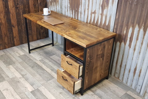 Industrial rustic desk with storage, compact desk for home office, desk with shelf storage