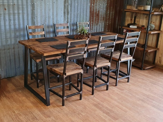 extendable Industrial style dining table with Trapezium legs, extending dining table, extending wood dining table