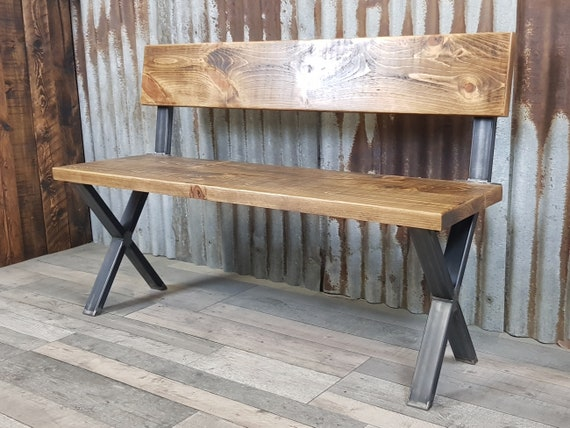 NEW! Industrial style bench with back, dining table bench, solid wood bench,