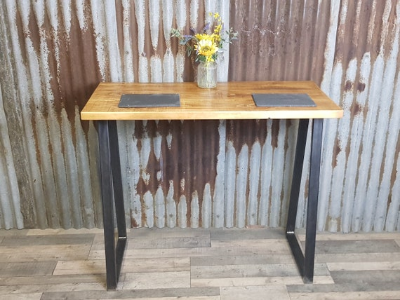 NEW! Industrial style breakfast bar with Trapezium shaped legs, industrial poseur table, breakfast bar