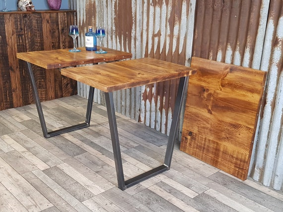 extending dining table with Calia style legs, industrial extending table with V legs, extendable table