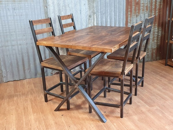 Industrial dining table with X style legs, reclaimed wood table, table and chairs, bespoke handmade dining tables
