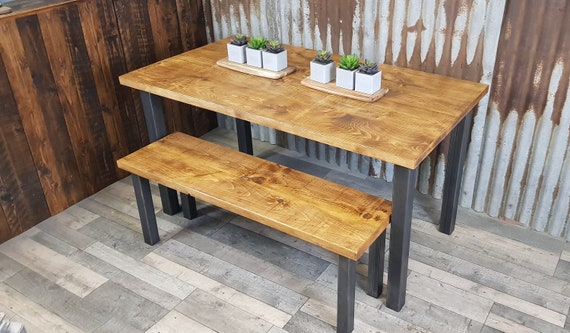NEW! Industrial reclaimed dining table with square legs, rustic dining table and bench package, reclaimed wood dining table