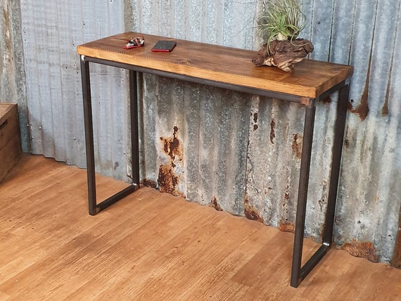console table slimline, industrial reclaimed hallway table, bespoke entryway furniture,