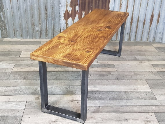 Industrial style bench with square loop legs, dining table bench, solid wood bench,