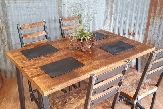 Industrial dining table with trapezium legs, reclaimed style dining table, bespoke dining and kitchen tables