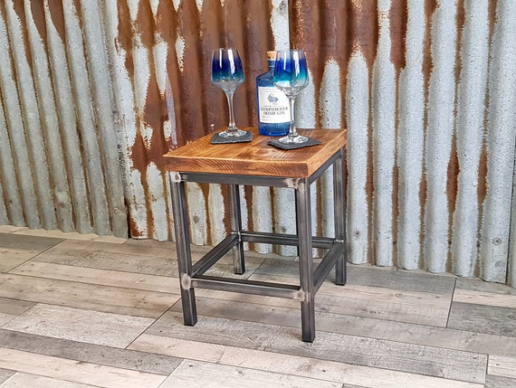 industrial bedside table, handmade modern wooden end table, bespoke modern side table
