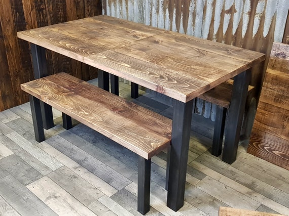Extending dining table with steel legs, industrial extending table with straight legs, extendable table