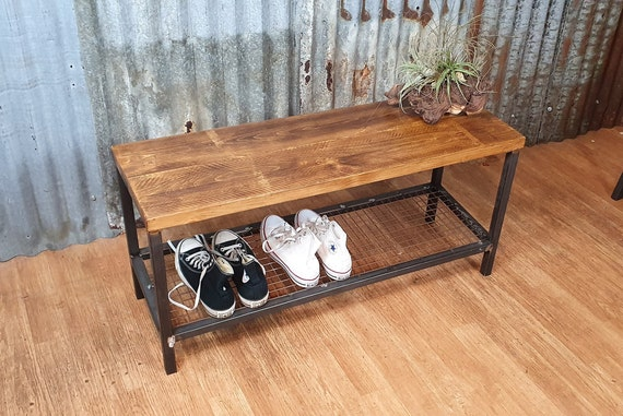 Industrial shoe storage bench, hallway bench with storage, rustic wooden shoe storage rack, hallway organisation shoe bench seat