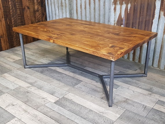 geometric coffee table, Industrial reclaimed style coffee table, solid wood coffee table, bespoke living room furniture