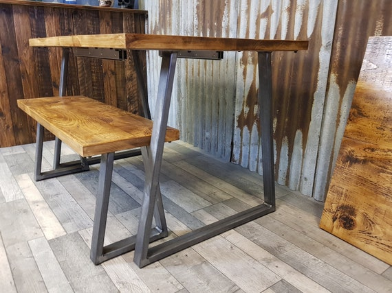extending Industrial style dining table with Trapezium legs, dining table and bench, solid wood industrial dining table