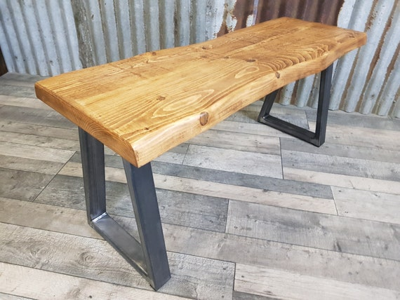 NEW!!! Live edge Industrial style bench, Trapezium style bench, wooden bench seating