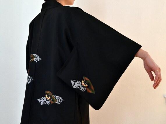 kimono cardigan, Kimono jacket, Black kimono, hand