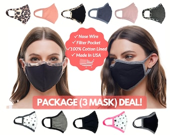 Package (3 Mask) Cotton Face Mask with Nose Wire, Filter Pocket, Adults Kids, 3D Face Mask, MADE In USA, Washable, Reusable