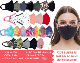 Cotton Face Mask with Nose Wire, Filter Pocket, Adults Kids, 3D Face Mask, MADE In USA, Washable, Reusable