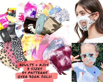 Washable Adults/Kids Face Mask with Filter Pocket - Tri-blend Fabric - MADE In USA - Washable, Reusable