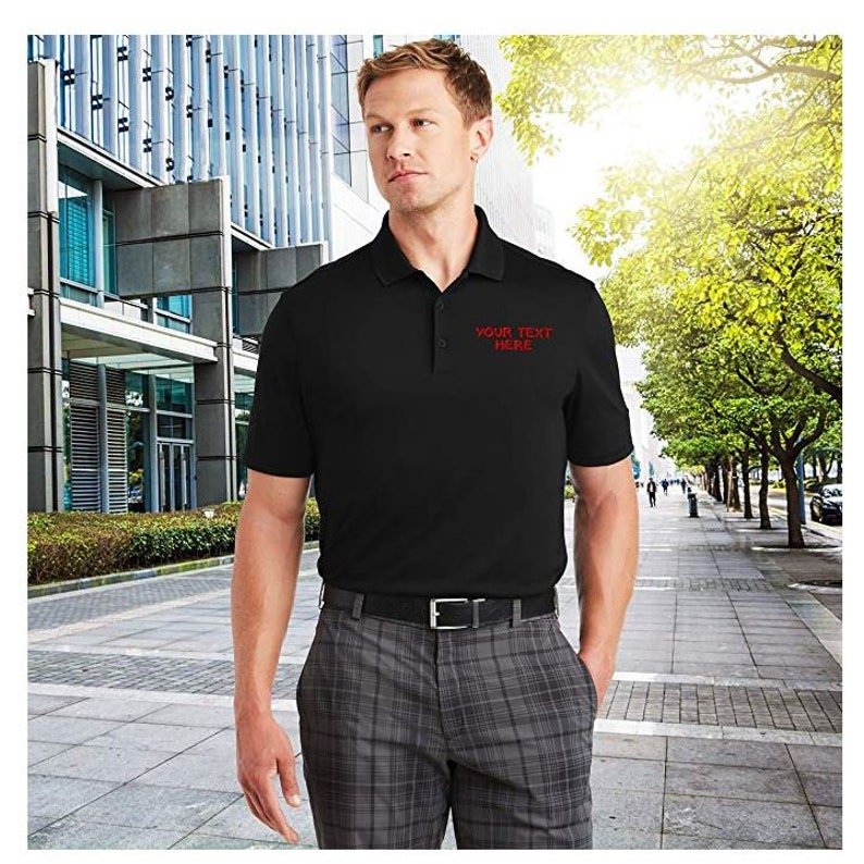 Custom Embroidered Moisture Wicking Performance Polo Embroidery Collar Shirts Unisex Men/'s Women/'s Fit Company Logo embroidered Red