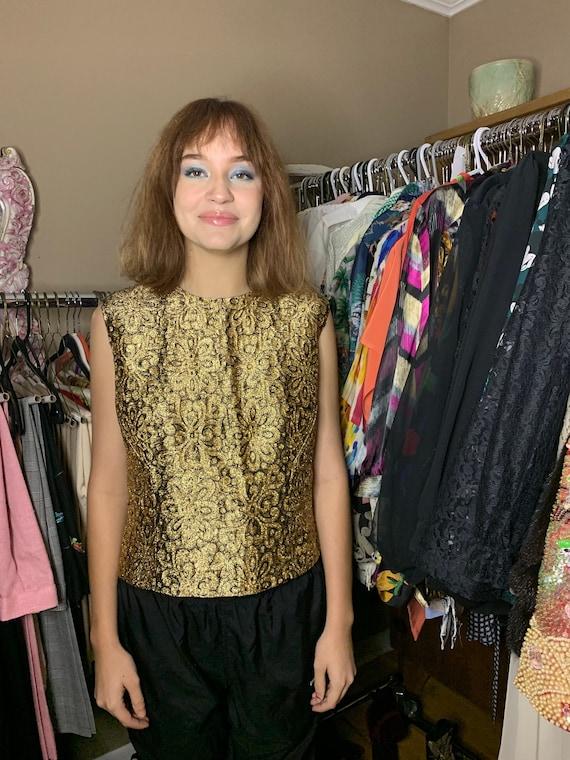 1960s Vintage Morlove Gold and Black Metal Shirt