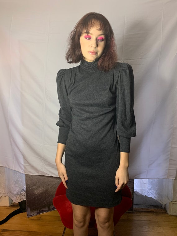 Vintage 80s All That Jazz Grey Dress