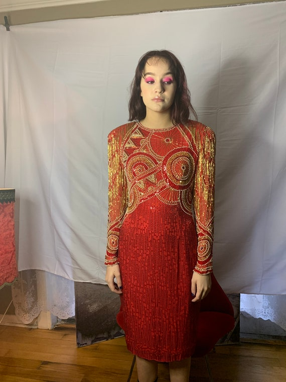 Vintage 90s Lillie Rubin Red and Gold Silk Dress