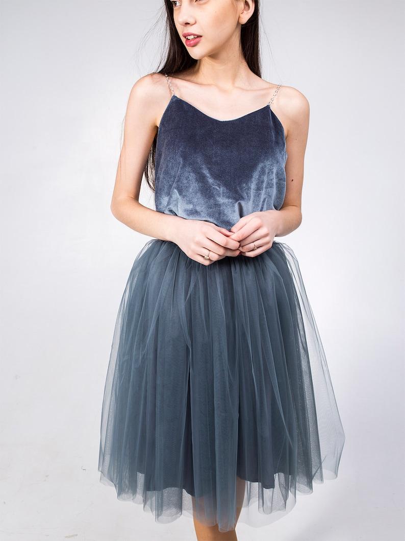 Grey knee length tutu skirt custom color size skirt tulle skirt