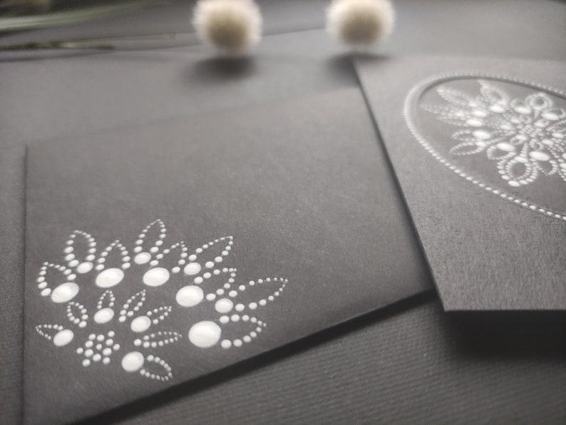 Good bye card card Birthday card Greeting card dot mandala card hand painted dot mandala flower dot art Black card black and golden