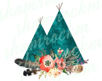 Cactus Teepee BOHO style**instant download*perfect for tshirts*png format*transparent background