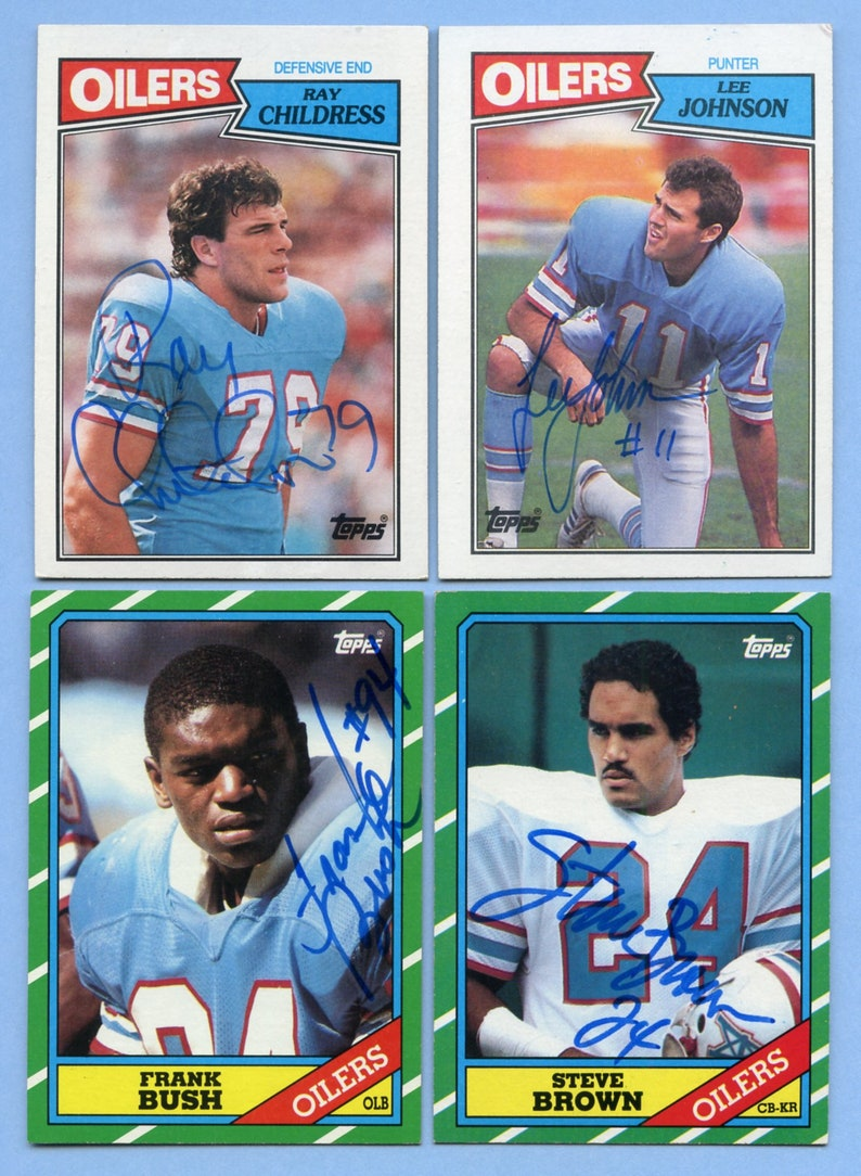 Vintqage Autographed Houston Oilers cards Ray Childress 2 more Frank Bush