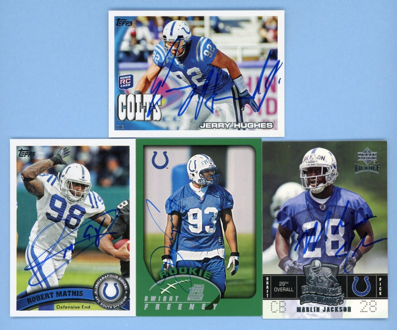 Dwight Freeney rookie card 2 more Vintage Autographed Indianapolis Colts defensive stars Robert Mathis