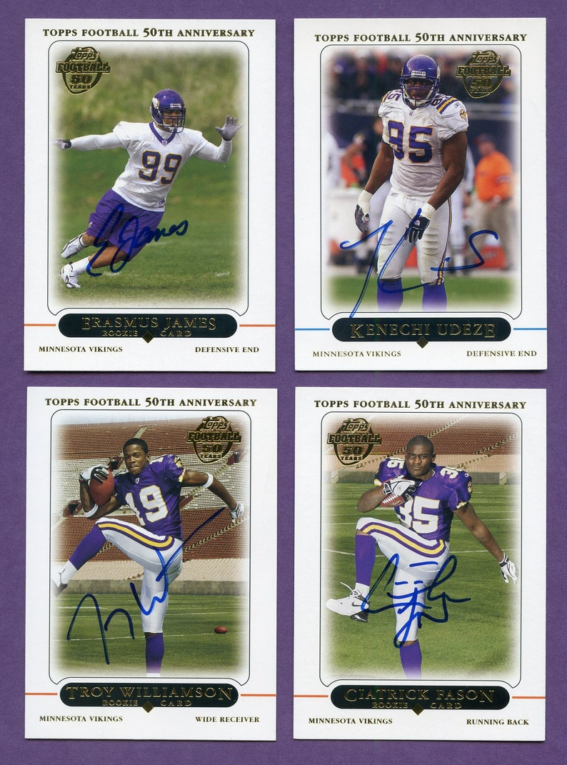 Erasmus James Autographed Minnesota Vikings 2005 Topps Rookie cards 2 more Ciatrick Fason