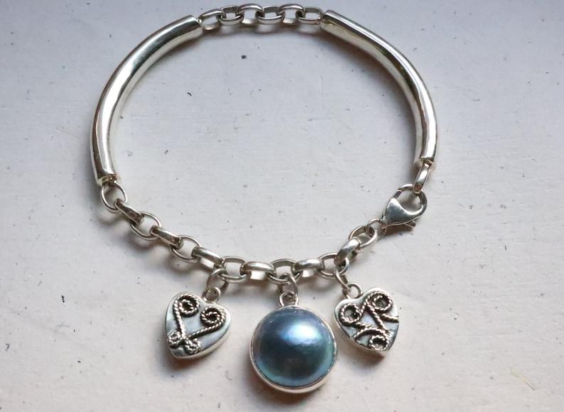 Fashionable Blue Pearl Silver Bracelet