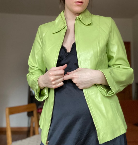 Lime Green 90s Leather Jacket