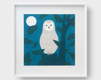 Owl in the woodland, Signed Giclée Print