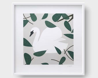Swan in the lake, Signed Giclée Print