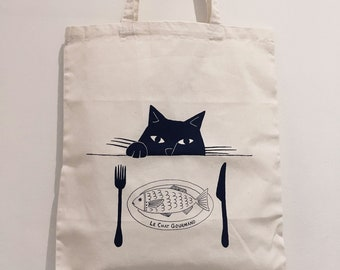 Le Chat Gourmand – Black cat, cotton shopping tote bag, hand screen printed