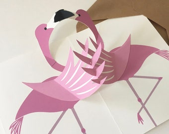 Flamingos pop-up card, hand screen printed
