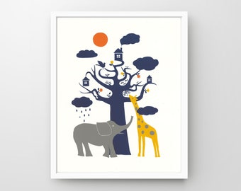 On y va? – Elephant & Giraffe, Signed Hand-pulled Screenprint