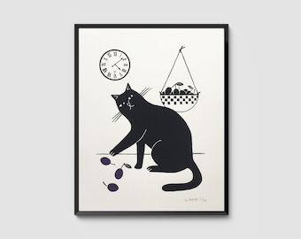 Le Chat Gourmand – Black Cat & Plums in the Kitchen, Signed Hand-Pulled Original Screenprint