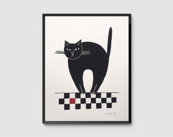 Le Chat Gourmand – Black Cat with Red Tile, Signed, Hand-Pulled Original Screenprint