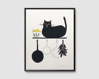 Le Chat Gourmand – Black Cat with Lemons on Kitchen Shelf, Signed Hand-Pulled Original Screenprint