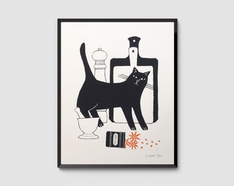 Le Chat Gourmand – Black Cat with a Spice Jar, Signed Hand-Pulled Original Screenprint